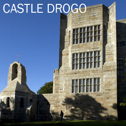 The south front of Castle Drogo, Devon, with the Chapel to the left and the windows of the Drawing Room, Dining Room and Gun Room in the tower to the right. The building was designed by Edwin Lutyens and built between 1910 and 1925.